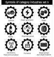 symbols of category industries set 3 vector image vector image