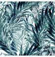 tropical pattern with green palm leaves vector image