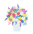 vase flowers in pastel colors vector image