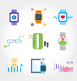 Wearable device flat design icon set vector image vector image
