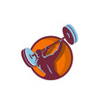 Weightlifter Swinging Barbell Rear Circle Retro vector image vector image