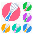 whisk icons with shadow collection vector image