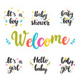 baby shower invites hello baby boy and girl hand vector image