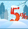 a discount five percent figures in the snow vector image vector image