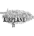 airplane comfort tips text word cloud concept vector image vector image
