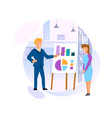 blonde man and young woman stand at chart board vector image