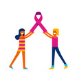 breast cancer awareness friends with pink ribbon vector image vector image