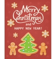 Christmas card with silhouettes of tree and vector image
