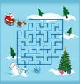 christmas maze kids labyrinth cartoon game vector image