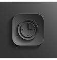 Clock icon - black app button vector image vector image