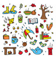 colorful autumn doodle set isolated rainy vector image