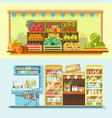 counters of shop or store and supermarket product vector image vector image