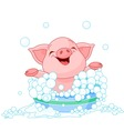 cute piglet taking a bath vector image