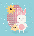 cute rabbit with easter egg painted and chick vector image vector image