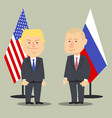 donald trump and vladimir putin standing together vector image vector image