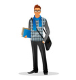 Fashion man with blue scarf vector image vector image