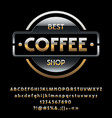 glossy silver and golden logotype best coff vector image vector image
