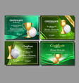 golf game certificate diploma with golden cup set vector image vector image