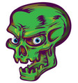green skull sketch design on white background vector image vector image
