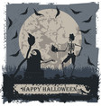halloween greeting card with skeleton and skull vector image vector image