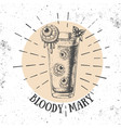 halloween hand drawn cocktail bloody mary vector image vector image