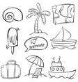hand draw summer element doodles vector image vector image