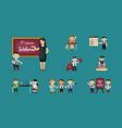 joyful children back school set cheerful teacher vector image