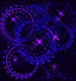 metallic stars and rings in purple shades on vector image