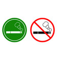non-smoking signs and a smoking area vector image vector image