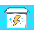 open box with icon of lightning on blue vector image