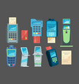 pay terminals money checkout transaction nfc vector image vector image