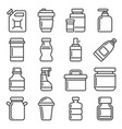 plastic packaging and container icons set line vector image vector image