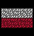 polish flag mosaic of human footprint icons vector image