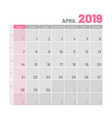 practical light-colored planner 2019 april flat vector image vector image