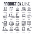 production outline icons collection set industry vector image