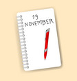 red marker and notebook isolated over yellow vector image