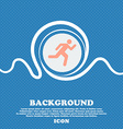 running man sign icon Blue and white abstract vector image