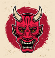 samurai warrior horned red mask vintage vector image vector image