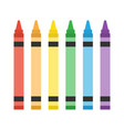 set colorful crayon on white background vector image