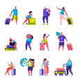 set flat people family goes on vacation vector image