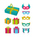 set of birthday mask party elements vector image