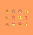 set simple line icons birthday vector image vector image