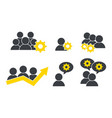 set social business temwork group with gears vector image