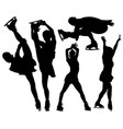 silhouettes figure skaters vector image