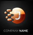 silver letter j logo gold dots splash and bubble vector image