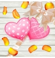 Valentines Day toys on wooden plates EPS 10 vector image