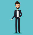 wedding man groom with tuxedo ceremony elegance vector image
