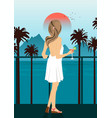 woman on sea embankment with palm trees at sunset vector image vector image