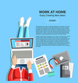 work at home concept with woman vector image vector image