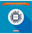 Processor icon CPU Long shadow flat design vector image